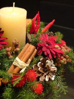 クリスマスのキャンドルリース